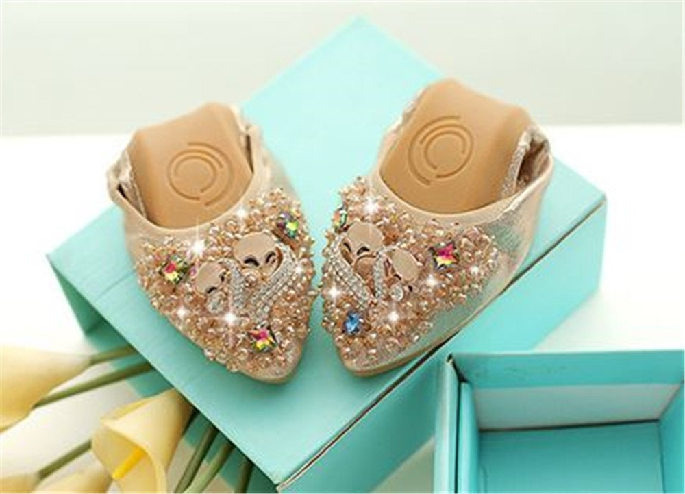 Fancyww Womens Foldable Flats Soft Pointed Toe Ballet Flats Foldable Rhinestone Comfort Slip on Flat Shoes B07F63SNBM 38/7 B(M) US Women|Gold 852536