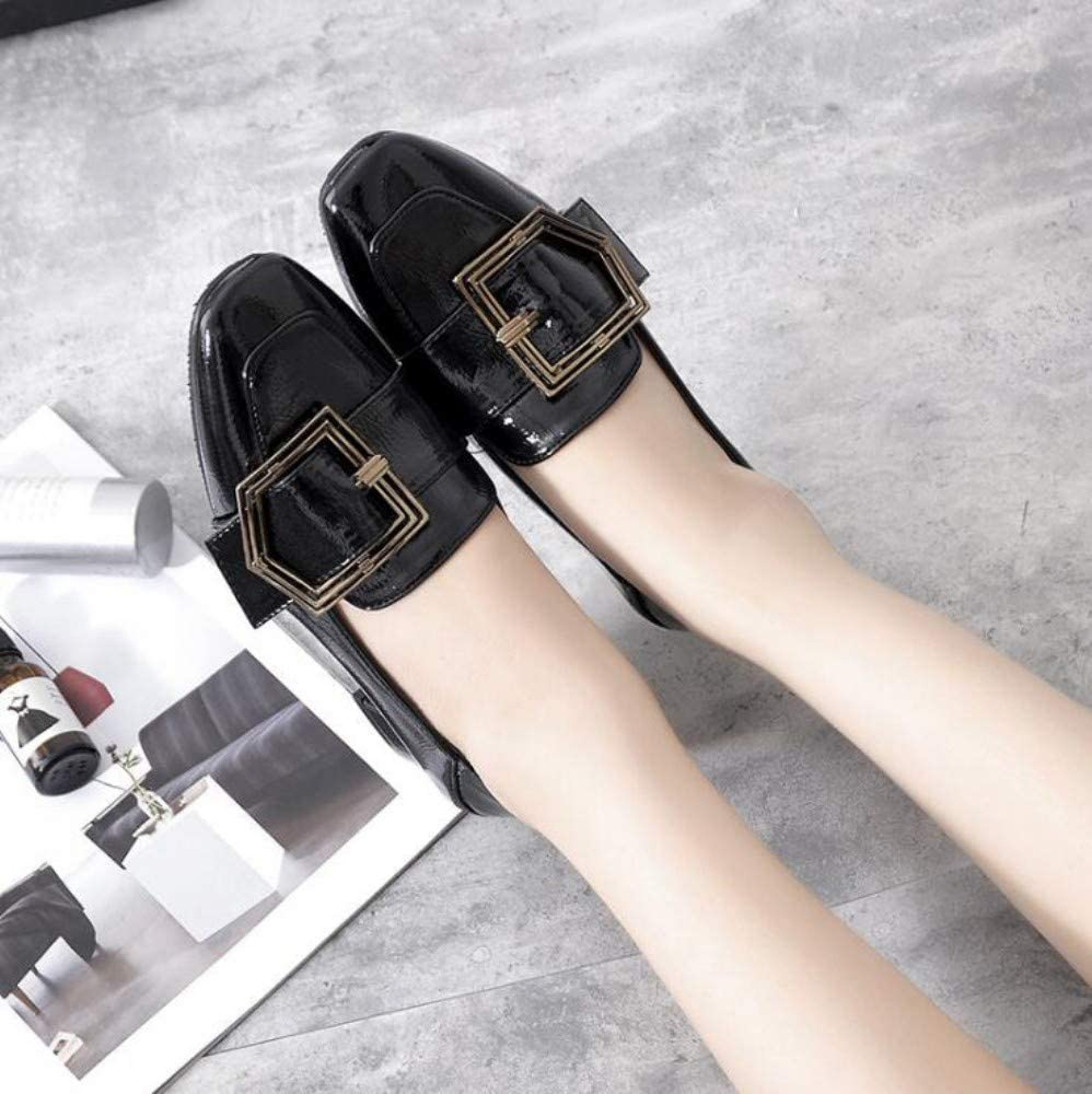 XL_nsxiezi Vintage étudiant en Cuir Chaussures Dames Talons Hauts noir