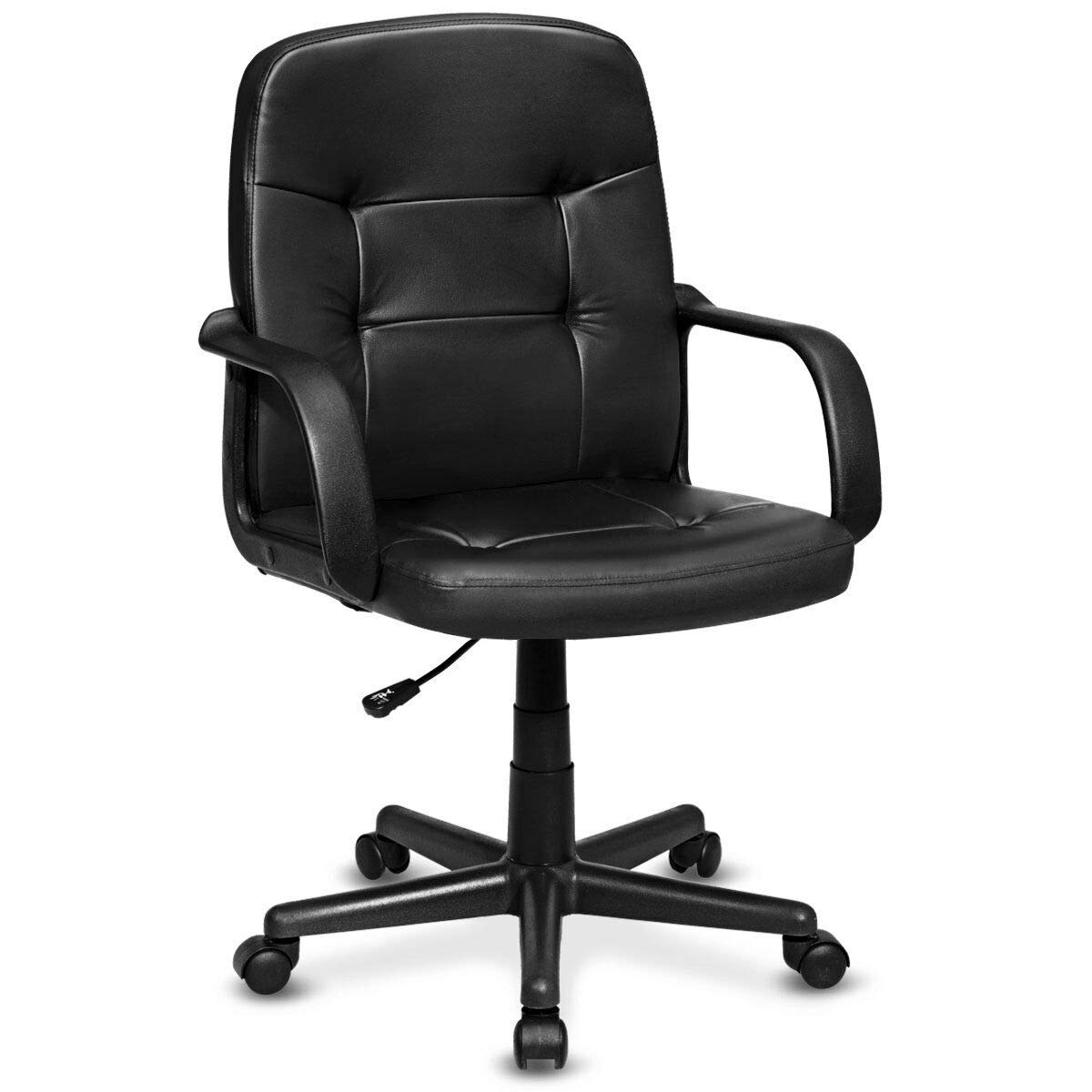 Giantex Mid Back Office Chair Ergonomic PU Leather Swivel Computer Desk Task Chair with Arms and Swivel Wheels for Home Office Use, Black