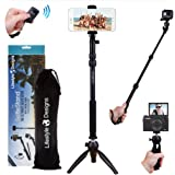 The Original SelfieStand: Premium HD 4-in-1 Selfie Stick Tripod Stand Kit + Bluetooth Remote – Universal: ANY iPhone, Android, GoPro or Camera – iPhone X 8 7 6 Plus, Samsung S9 etc. | Best Gift Pack
