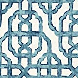Imperial Seaside Blue Lattice 75 x 84 inch Cotton Shower Curtain, Lined