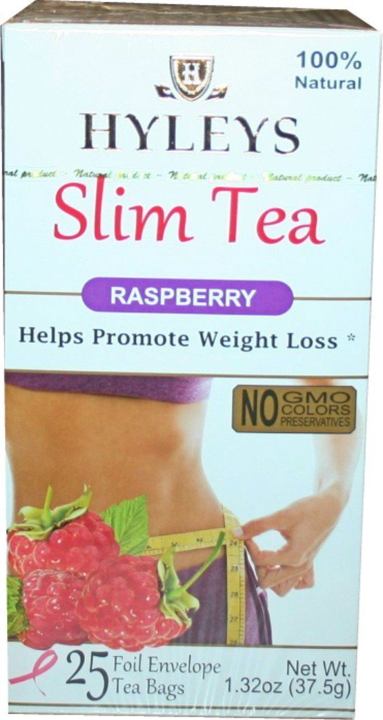 Hyley's Raspberry Weight Loss Tea 25 Foil Envelopes PACK OF 3