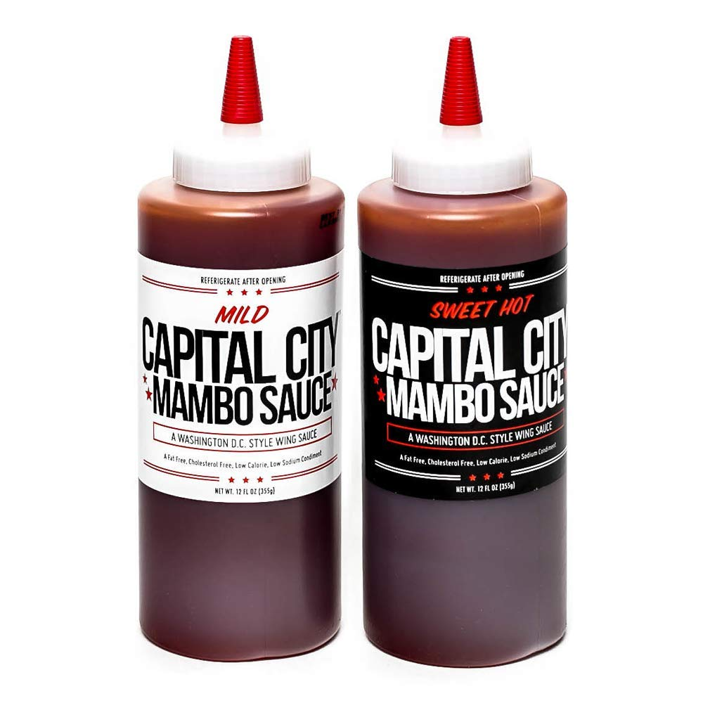 Capital City Mambo Sauce - Variety 2-pack of Sweet Hot and Mild Mambo Sauce - Washington DC Wing Sauces (Two 12 oz bottles); Perfect for wings, chicken, pork, beef, and seafood