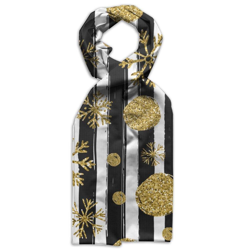 HFIUH5 Gold Black White Stripe Printing Scarf Warm Soft Fashion Scarf Shawl For Spring Autumn Winter Kids Boys Girls