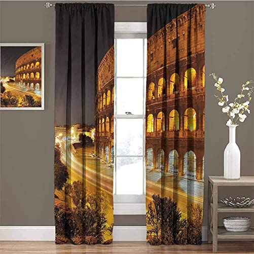 June Gissing Italy Black Out Insulation Curtains 72 inch Length, Colleseum at Night Rome Thermal Insulated Curtain 96 x 72