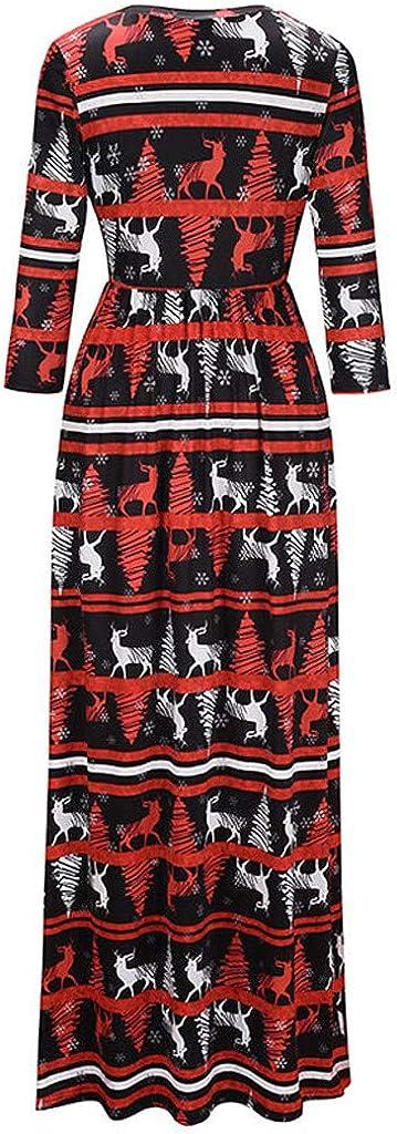 Allegorly Robe de No/ël Manches Longues Femme Fille Vintage Robe en Velours M/ère No/ël Longue Robe de Cocktail Soir/ée Manteau