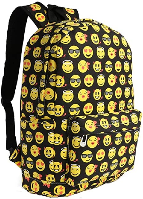 SMILE Emoji Funny Black Backpack Canvas Travel Satchel Cute School Rucksack
