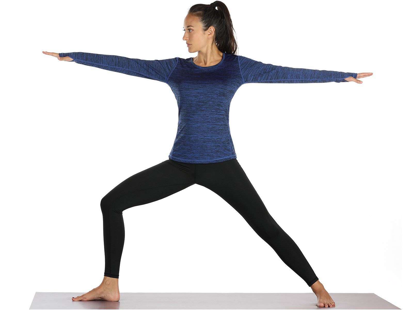 icyZone Women\'s Workout Yoga Long Sleeve T-shirts with Thumb Holes (Royal Blue, M)