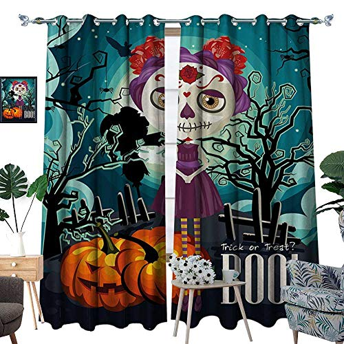 homehot Halloween Window Curtain Drape Cartoon Girl with Sugar Skull Makeup Retro Seasonal Artwork Swirled Trees Boo Decorative Curtains for Living Room Multicolor