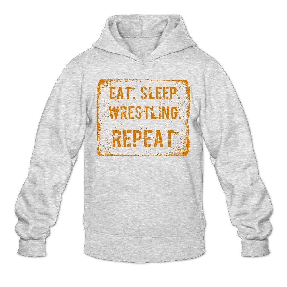 Aiw Wfdnn Male Hoodie Sweatshirt Slim Pullover Hooded Eat Sleep Wrestling Repeat