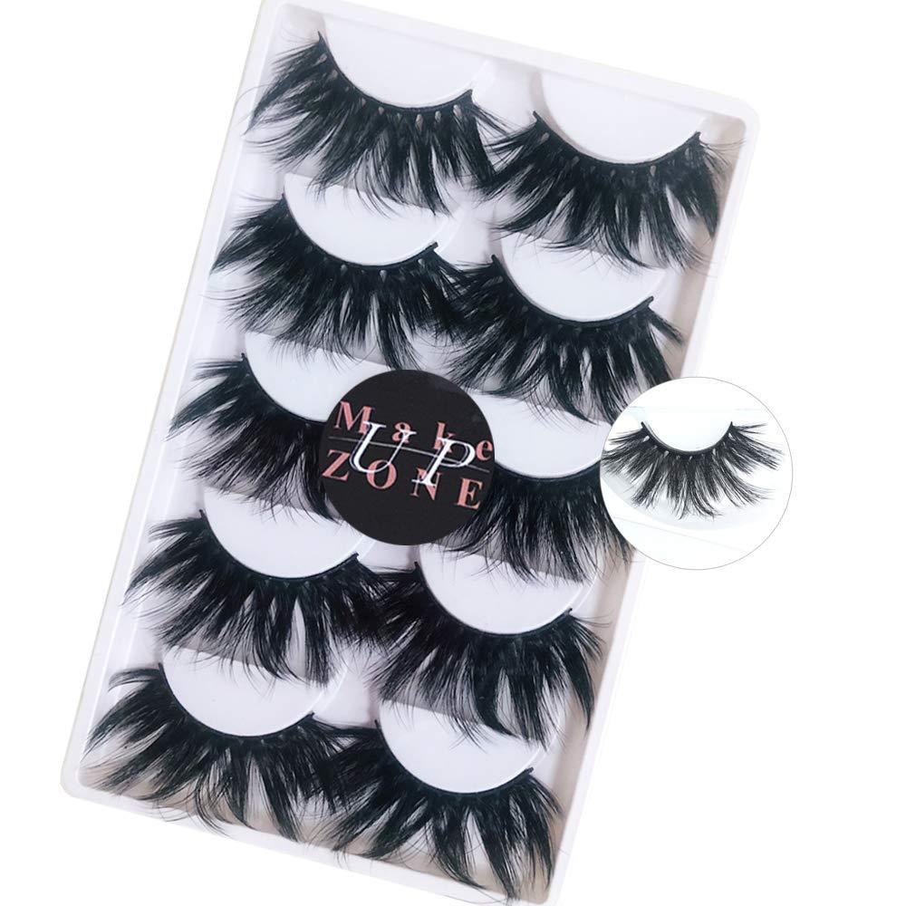 25mm 3d Mink Lashes Fluffy False Eyelashes Dramatic Thick Long Fake Lashes Pack 5 Pairs H20 Beauty Amazon Com