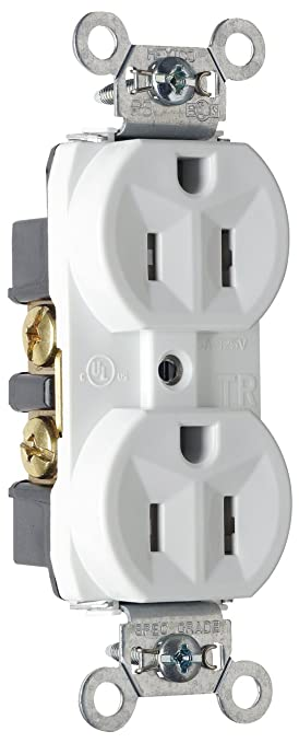 Pass & Seymour TR5262WCP6 Tamper Resistant Duplex Receptacle, Back ...