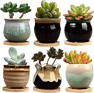 SUNNIE Succulent Pots 3.3inch Potted Modern Style Marble Ceramic Pot Cactus Bonsai Pot Container6 Pack