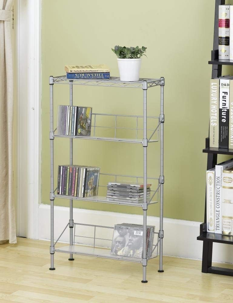New Silver 4-Tier Media Rack CD Rack Stand Racks Organizer Storage Rack