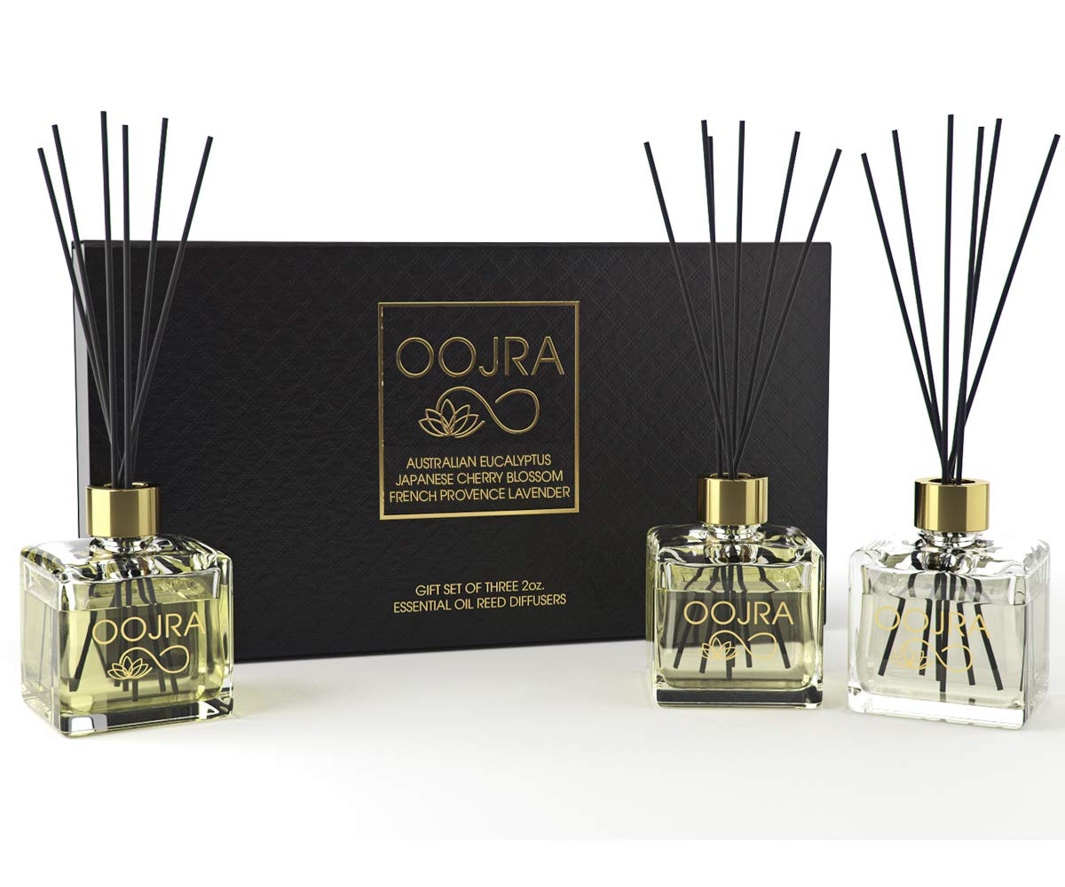 OOJRA 3 (2oz) Essential Oil Reed Diffusers Aromatherapy Gift Set; Australian Eucalyptus, Japanese Cherry Blossom, French Provence Lavender; Decor Bottle 6oz Total (Lasts 5+ Months) by OOJRA