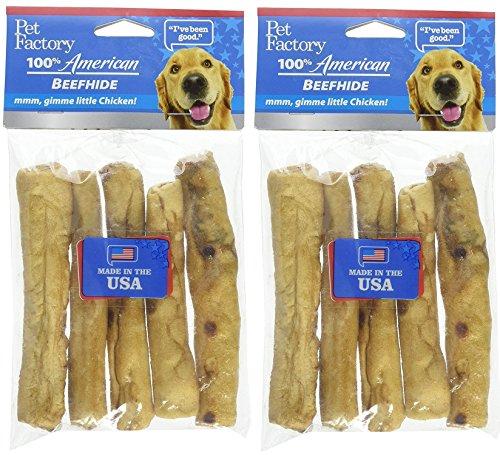 - Pet Factory 100% American Beefhide Chip Rolls, Chicken (10 Rolls)