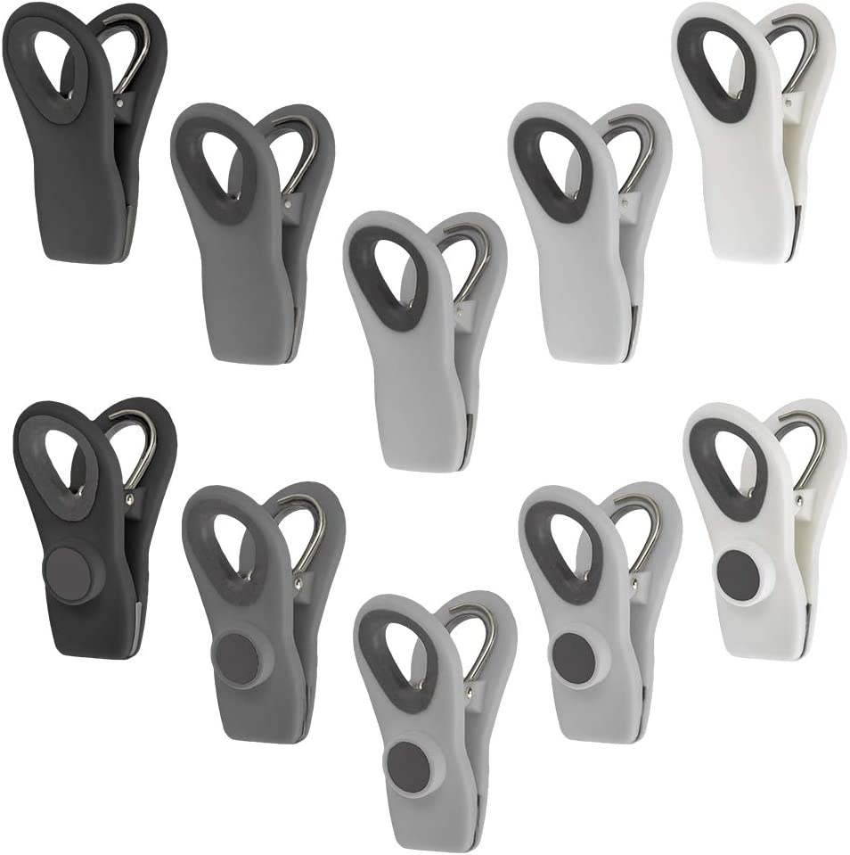 Cook with Color 10 Pc Bag Clips with Magnet, Food Clips, Chip Clips, Bag Clips for Food Storage with Air Tight Seal Grip, Snack Bags and Food Bags (Black & White Collection)