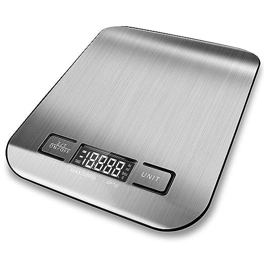 MooHome Báscula Digital para Cocina, Balanza de Alimentos multifunción (11 LB / 5 kg de Capacidad, 0.05 onzas / 1 gramo de Incremento) Plataforma de ...