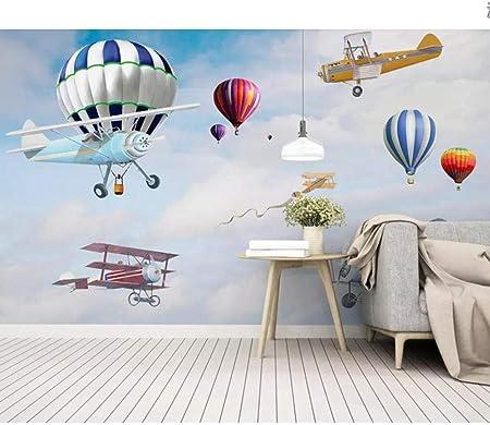 3D Cartoon Plane Self-adhesive Removable Photo Wallpaper Wall Mural Sticker 023