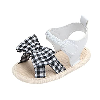 af8dc9858cf4e Amazon.com : Cloudro Soft Sole Crib Shoes Summer Bow Plaid Anti-Slip ...