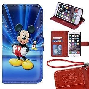Caso del iPhone 6 Wallet Funda [4.7 pulgadas], Twodee - Mickey Mouse premium PU Case Funda carpeta del tirón del caso del soporte de la cubierta Funda para iPhone 6 con ranuras para tarjetas