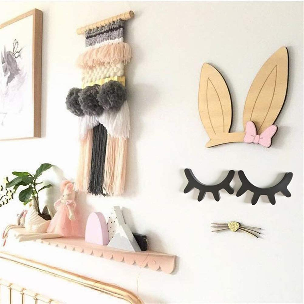 Eyelash Decor Wooden Eyelash Sleepy Eyes Wall Decorations Baby Shower Room Gift Set of 2Pcs