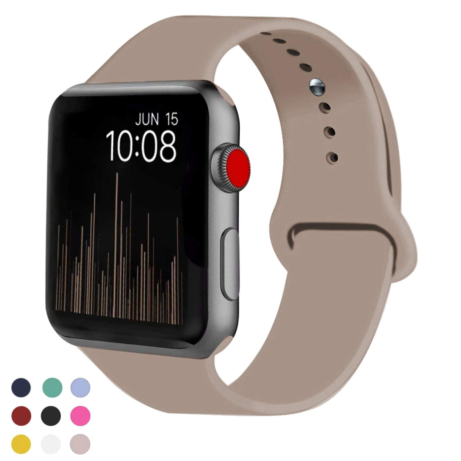 VATI Sport Band Compatible with Watch Band 40mm 44mm 42mm 38mm, Soft Silicone Sport Strap Replacement Bands Compatible with 2018 Watch Series 4/3/2/1, 38MM 40MM S/M (Walnut)
