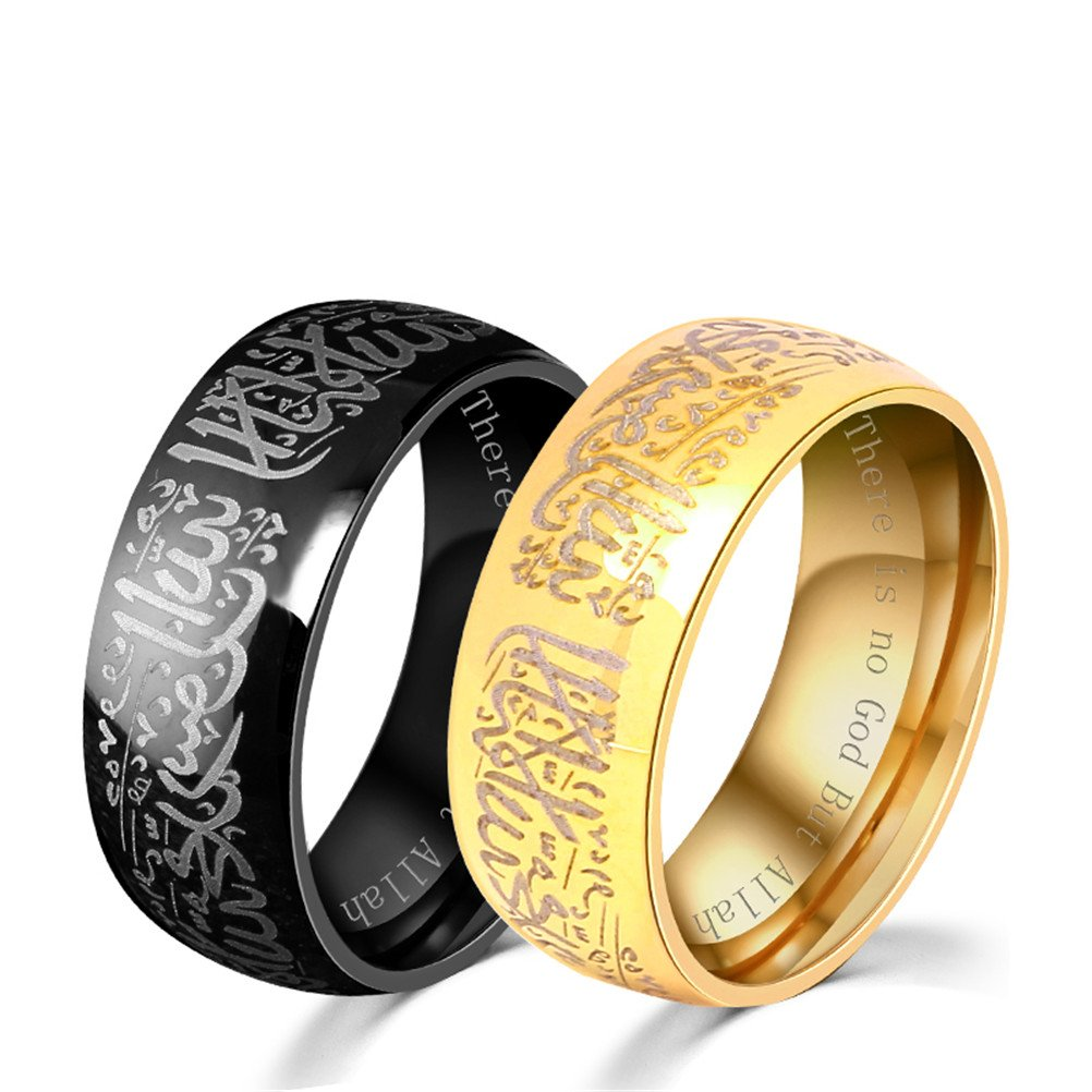 HIJONES Men's Stainless Steel Muslim Islamic Ring with Shahada in Arabic & English Black Size 10 by HIJONES (Image #4)