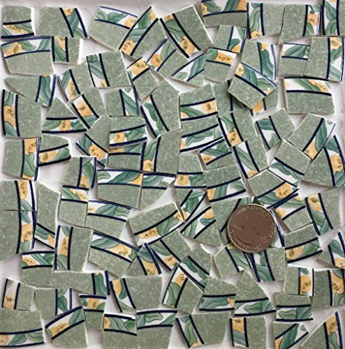 Broken China Mosaic Tile Art Supply for Crafts ~ Green Blue & Yellow Floral China Tiles (T#A311)