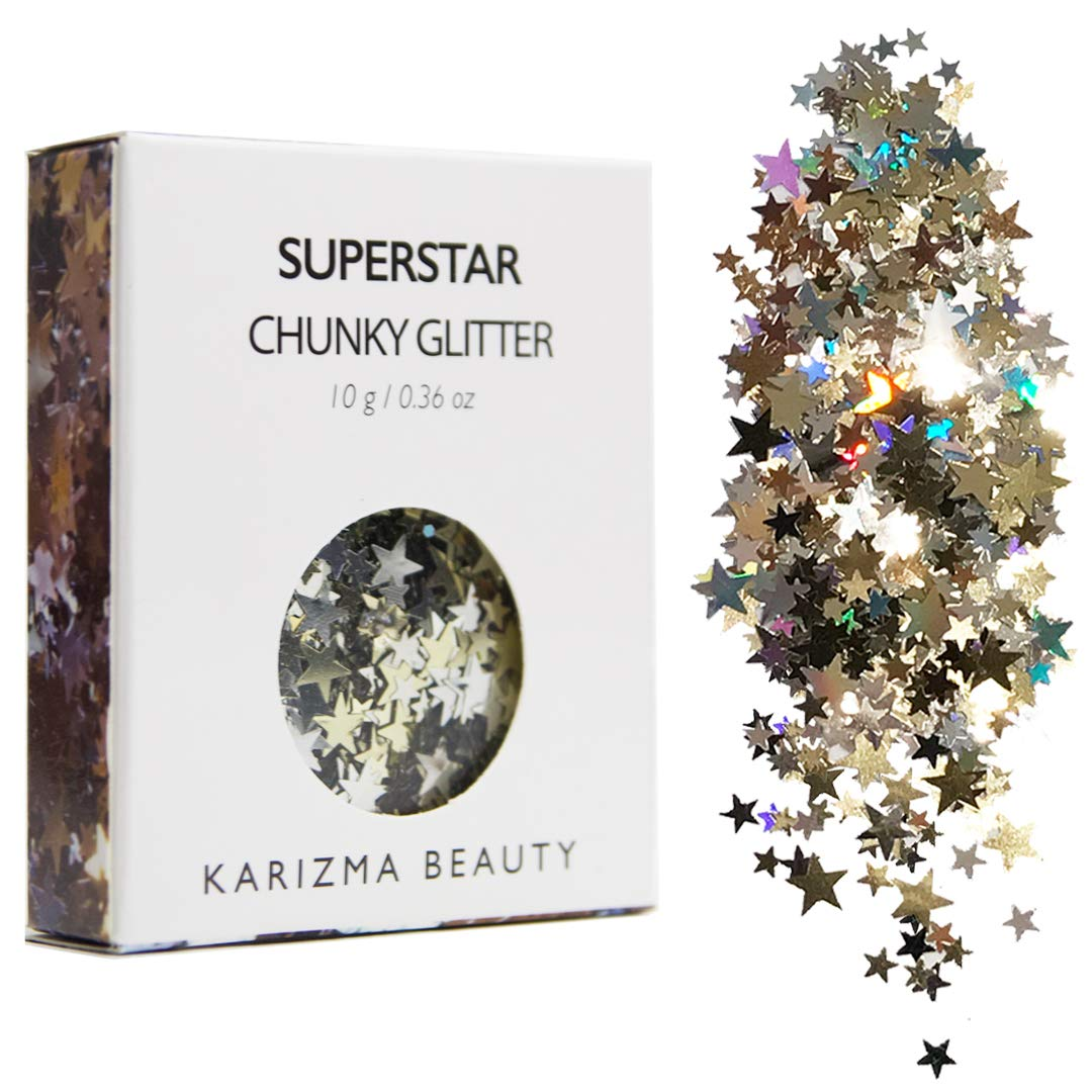 Superstar Chunky Glitter ✮ KARIZMA BEAUTY ✮ Festival Glitter Cosmetic Face Body Hair Nails