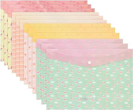Carpetas para Archivo,Coofit 12PCS Carpetas Escolares Carpeta Clasificadora Plastico A4 De La Prenda Impermeable Del PVC De La Carpeta plastico De Archivos De: Amazon.es: Oficina y papelería