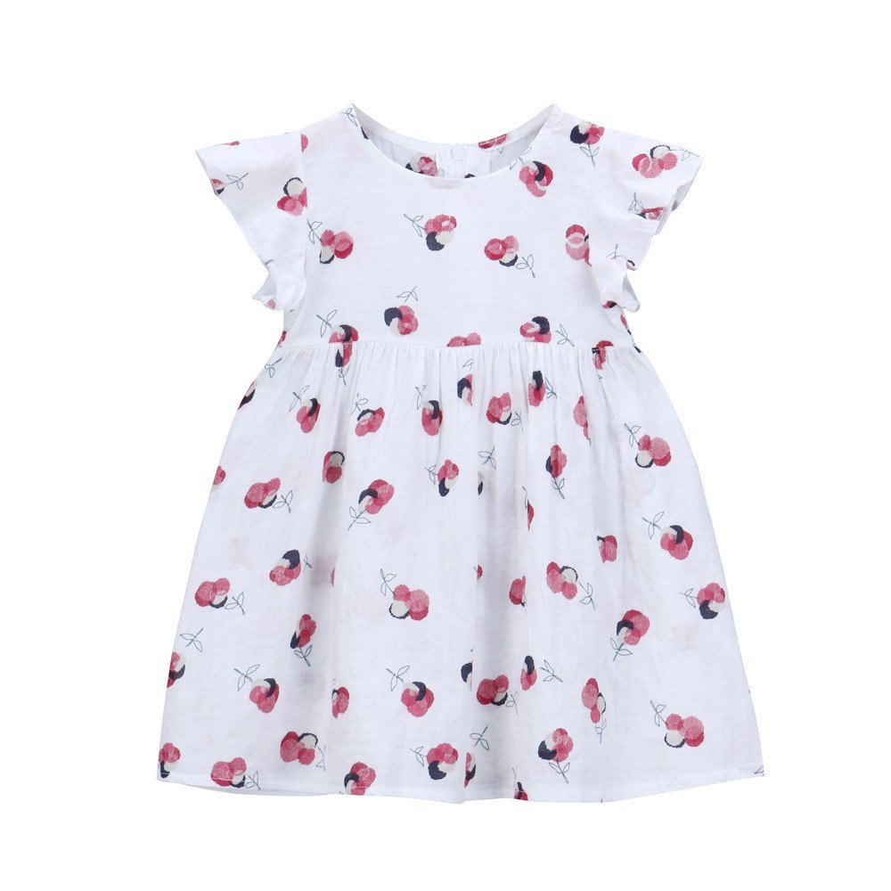 Little Girls Toddle Clothes Ruffle Sleeveless Casual Floral Print Summer Dresses (Size:3T, White)