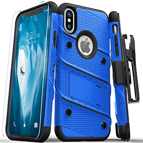 Zizo Bolt Series Compatible with iPhone X Case Military Grade Drop Tested with Screen Protector, Kickstand and Holster iPhone Xs Blue Black ()