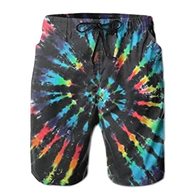 9a8f4ab7db Jia3261 Mens Tie Dye Quick Dry Swim Trunks Athletic Beach Board Shorts  Medium White