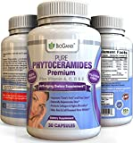 #1 Best Pure Natural Phytoceramides Anti-Aging Supplement /w Vitamins A, C, D & E (Plant, Rice Derived Ceramide-PCD ®) Superior To 350mg Lipowheat & Sweet Potato Ceramide Pills (30 Capsules) + E-Guide