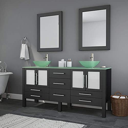 63 Inch Espresso Wood Glass Double Sink Bathroom Vanity Set