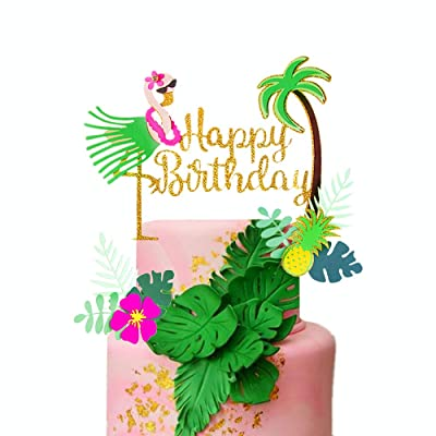 LaVenty Set of 3 Glitter Flamingo Happy Birthday Cake Topper Flamingo Birthday Supplies Tropical Hawaiian Themed Party Supplies: Toys & Games