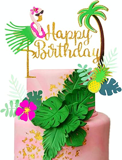 Astonishing Amazon Com Laventy Set Of 3 Glitter Flamingo Happy Birthday Cake Funny Birthday Cards Online Kookostrdamsfinfo