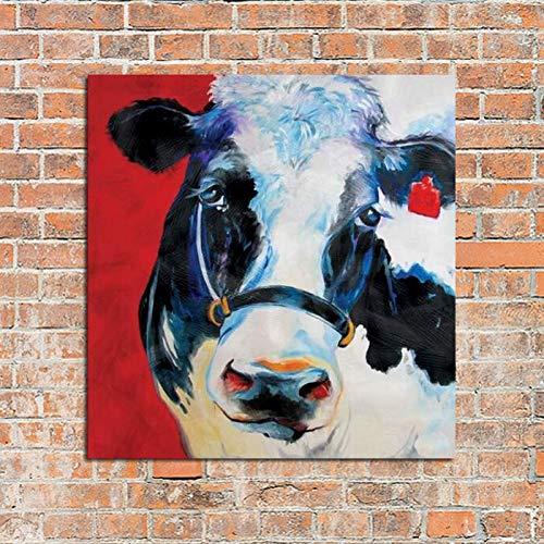 YOHAWOD Handgemalt Manuelle Wandmalerei Tierölgemälde Kunst Die Kuhfarm-Dekoration