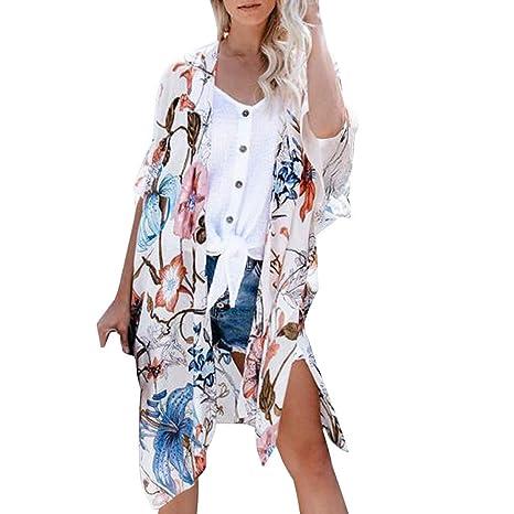 Kimono para mujer con estampado floral de gasa ligero para ...