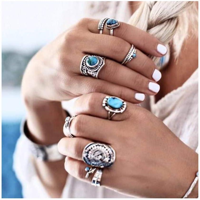 IYOU - Juego de anillos de plata tallados con piedras preciosas, para nudillos y nudillos de color turquesa (8 unidades)