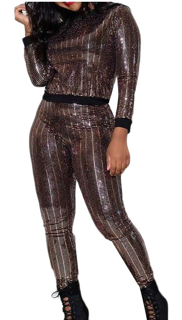 3 Medium omniscient Women's Sequins 2 Pieces Outfits Long Sleeeve Tops Skinny Pants Sets