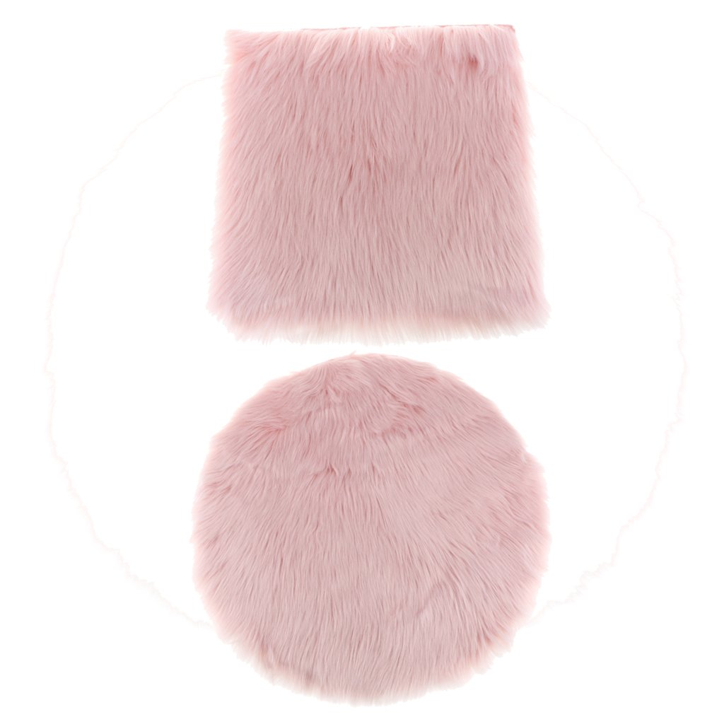 MonkeyJack 2Pcs 40cm Comfortable And Durable Artificial Wool Rug Furry Floor Carpet Mat Seat Cushion Round And Square - Light Pink