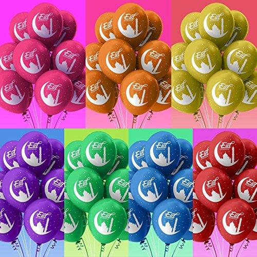 Stella & Chan Happy Eid Mubarak Balloons – 40 Pack - 5 Colours (Blue, Greenblue, Gold, Pink Purple) Eid Al Fitr & Eid Al Adha Eid Mubarak Print