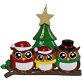 Personalized Ornament Owl Family of 3