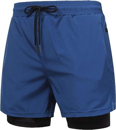 Amazon.com: COOFANDY Pantalones cortos 2 en 1 para hombre ...
