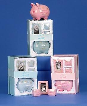 erste Milchz/ähne Haare und mit Bilderrahmen blau f/ür erstes Spargeld BRUBAKER Set Mein erstes Sparschwein