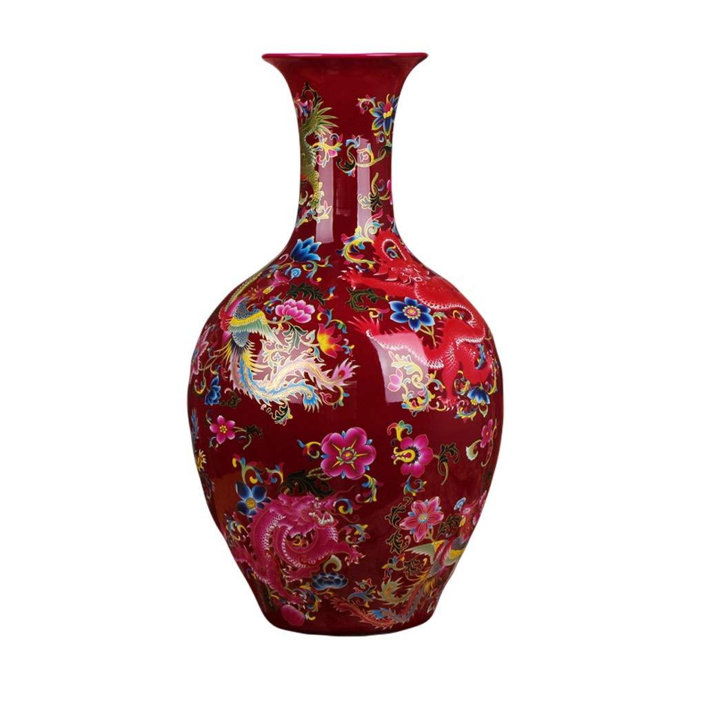 MAHONGQING 花瓶セラミックス現代中国ローズレッドドラゴンとフェニックス祥翔大花瓶ファッション新しい家の装飾 B07S8B9PLT