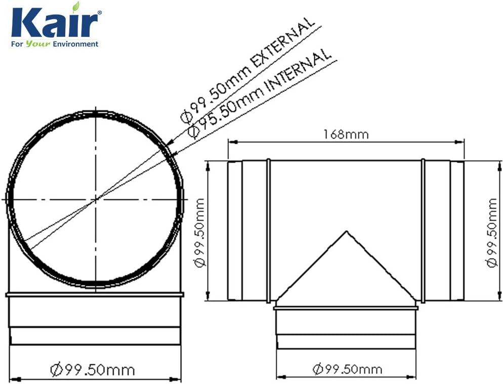 100mm Conductos Redondos T Pieza DUCVKC302 SYS-100 Kair 4 pulgadas
