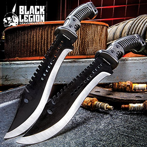 Black Legion Iron Phantom Bowie/Fixed Blade Knife - 3Cr13 Stainless Steel - Clip Point, Sawback, Black 2-Tone Finish - Belt Sheath - Tactical, Outdoors, Hunting, Survival, Camping - 15 1/4